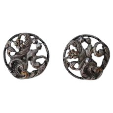 Set 2 pcs Antique Georgian hand carved cut steel Buttons floral design