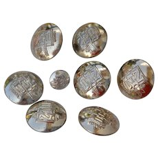 Set 9 pcs Antique Canadian Naval Military metal Buttons NHB Canada by William Scully