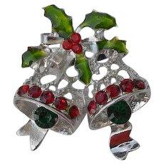Vintage enamel encrusted rhinestones 2 Christmas bells & Holly Plant 3D Brooch Pin