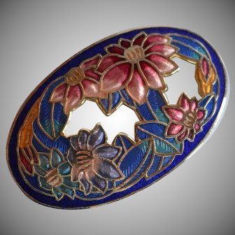 Vintage colorful cloisonne Enamel oval cameo cut through Brooch Pin with floral design