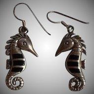 Cute Vintage handmade Sterling Silver 925 Onyx inlay figural dimensional Seahorse dangle earrings