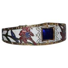 Vintage colorful Cloisonne Enamel hinged Bracelet with floral design