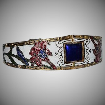 Vintage colorful Cloisonne Enamel hinged Bracelet with floral design