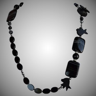 Designer signed Amk black Onyx & Jet & black banded Agate modernist fetish Necklace