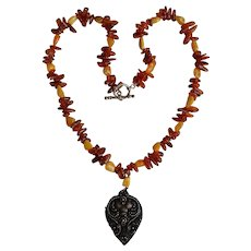 Vintage Antique Baltic Amber Necklace with old Sterling Silver 925 floral pendant