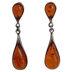 Vintage handmade Sterling Silver 925 cognac untreated Antique Baltic Amber dangle Earrings
