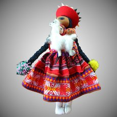 Big Vintage hand sewed South America Ethnic Cloth Doll Mom caring 3 babies and 1 baby Lama