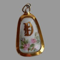 Big signed Antique Victorian hand painted Porcelain Pendant with pink roses green leafs & initial D