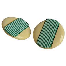 Large Vintage 50's cream striped green & white Lucite plastic round clip-on Earrings