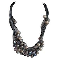 OOAK designer large white & grey & blue peacock natural Cultured Baroque sea salt Pearls multi strand Necklace