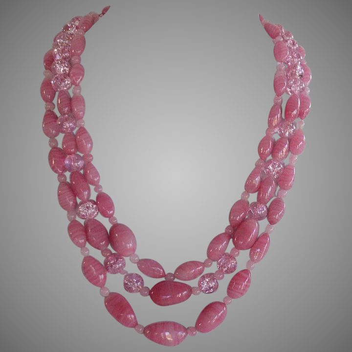 8b80ac871134c late Art Deco swirl pink Murano glass 3 rows graduated Necklace huge oval  rhinestones clasp