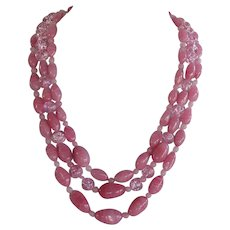 late Art Deco swirl pink Murano glass 3 rows graduated Necklace huge oval rhinestones clasp