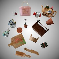 Vintage miniatures set for dollhouse