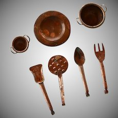 Vintage kitchen brass & copper miniatures set for dollhouse