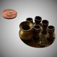 Vintage brass tray & pitcher & cups miniatures set for dollhouse