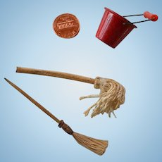 Vintage  mop & bucket & broom miniatures set for dollhouse