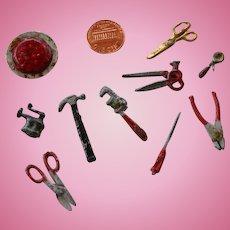 Vintage strawberry cake & metal tools miniatures set for dollhouse