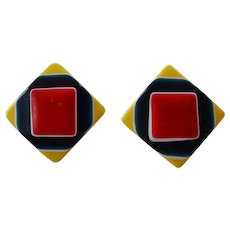 Vintage multi lays Resin Plastic square shape yellow red white navy blue pierced Earrings