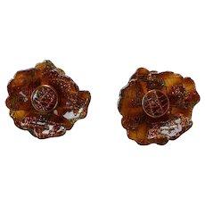 Vintage molded faux tortoiseshell plastic Lucite embedded gold & green glitter Flower clip-on Earrings