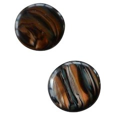 Vintage Lea Stein layered marbled iridescent lucite button pierced Earrings