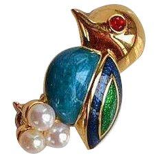 Vintage high end Blue enamel miniature Bird Brooch Pin faux pearl eggs rhinestone eye