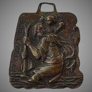 Antique Italy St. Ann, Ste-Anne de Beaupre Basilica in Quebec, Canada & St. Christopher raised bronze medal