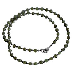 Vintage Green Jade Jadeite & Sterling silver 925 beaded Necklace
