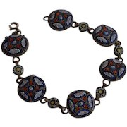 Antique Italy Glass Micro Mosaic  & Brass Link Bracelet in white orange white tones with very fine mosaic