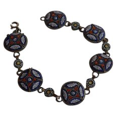 Antique Italy Glass Micro Mosaic  & Brass Link Bracelet