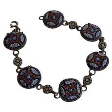 Antique Italy Glass Micro Mosaic  & Brass Link Bracelet