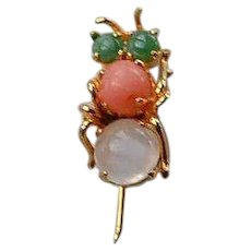 Dainty coral emerald moonstone fine gemstones insect bug Pin Brooch