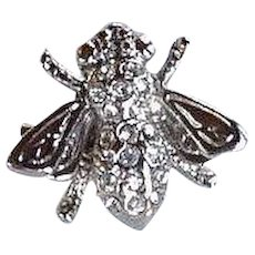 Vintage small insect bug Fly Pin Brooch pave rhinestones