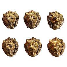 Set 6 pcs antique gold tone metal dimensional figural Lion Head Buttons