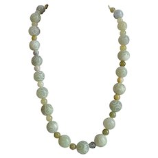 Hand carved and engraved Green Jade Jadeite beaded Necklace