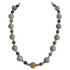 Handmade Green Jade Beaded Necklace