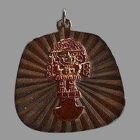 Vintage handmade Mexico 925 sterling silver & 10 karat Gold Inti Inca Sun God Pendant