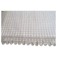 Huge Vintage beige cotton finely Hand Crocheted Lace rectangular Tablecloth