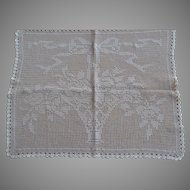 Antique Victorian hand crocheted rectangular Table runner or Doily with flowers in a basket design