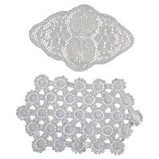 Vintage set 2 pcs cream hand crocheted Doilies with flowers and heart design
