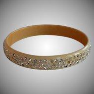 Art Deco Encrusted Rhinestones Cream Celluloid Bangle Bracelet