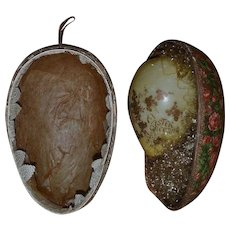Antique Victorian papier mache lithograph Easter Egg decoration container with celluloid Easter egg