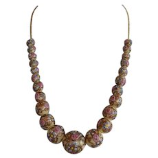 Art Deco Italy Murano Wedding Cake Glass Graduated Beaded Necklace strung on chain - cream, blue , pink, gold tone