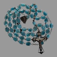 Rare Antique Clear & Turquoise Crystal Catholic Rosary