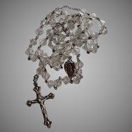 Antique French sterling silver & clear crystal 5 decades Catholic Rosary