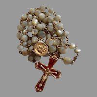 Antique pinchbeck red celluloid & Mother of Pearl Catholic Rosary