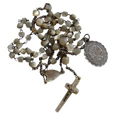 Tiny Antique circa 1850 silver 850 & Mother of Pearl Rosary with antique Saint Benedict medal
