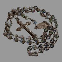 Antique Iris Rainbow Glass crystal Catholic Rosary