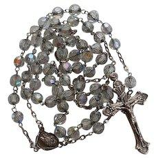Vintage aurora borealis crystal Saint Clare & Saint Francis of Assisi Catholic Rosary