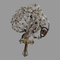 Antique carved Rock Crystal & brass Catholic Rosary