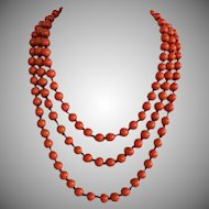Art Deco Czech Coral Glass Beaded Hand Knotted Opera Length Continuous Necklace 58 inches